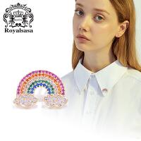皇家莎莎领针领扣女衬衫领子彩虹桥可爱领花衣领胸针女情人节礼物