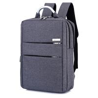 威斌商务男士双肩包多功能书包大容量时尚休闲电脑充电旅行背包女 雅致灰 USB防震
