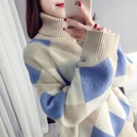 高领套头毛衣女冬季菱形打底衫宽松时尚外套上衣