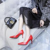 高跟鞋女细跟黑色职业ol工作鞋真皮尖头2019新款春秋红色单鞋中跟SN0764