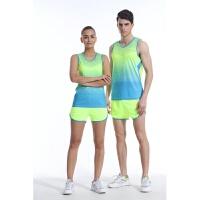 夏季男女款田径服训练套装田径背心短裤比赛服透气可印号跑步服