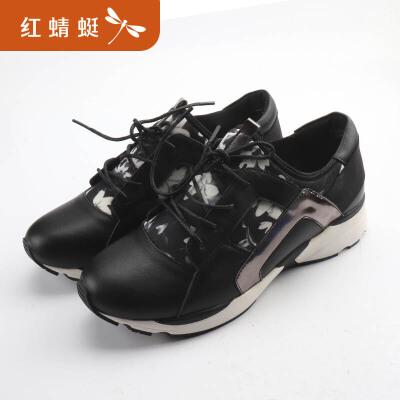 红蜻蜓春夏季新款女鞋真皮透气厚底一脚蹬单鞋百搭松糕鞋