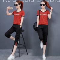 运动套装女夏季2018新款休闲时尚运动服韩版短袖七分裤宽松两件套休闲运动套装