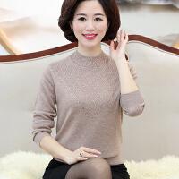100%纯羊毛衫套头毛衣打底衫中老年女装妈妈装秋冬装保暖半高领