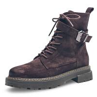 2018秋冬磨砂英伦风机车靴松糕厚底短靴女系带马丁靴复古沙漠靴潮真皮