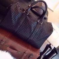 旅行包男大容量编织短途手提行李包女真皮休闲健身包单肩旅行袋潮SN6727 黑色