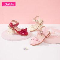 【3件3折预估价:55】笛莎女童皮鞋2021春季新款时尚鞋子甜美蝴蝶结公主皮鞋