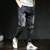 九分牛仔裤男士宽松加肥加大码黑色哈伦裤夏季薄款休闲小脚裤子男