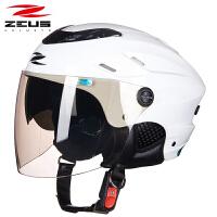 摩托车头盔半覆式男女士四季电动车轻便式双镜片防晒半盔夏季 均码
