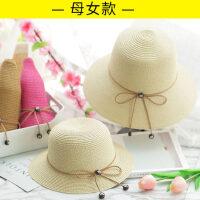 韩版母女亲子小清新海边度假凉帽 女童防晒太阳帽渔夫帽儿童沙滩草帽