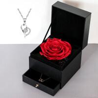 永生花保鲜玫瑰diy真花圣诞礼盒项链首饰盒送女友生日情人节礼物