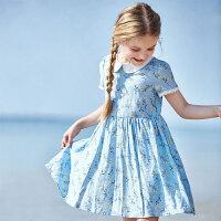 【3折价:95】笛莎童装女童连衣裙夏装2019新款女孩中大儿童超洋气碎花公主裙子