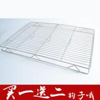 不锈钢猪肉网置物架加粗猪肉架蛋糕冷却架烧烤网架双层网烘焙工具 加粗再加脚100x40x4cm送2个S钩
