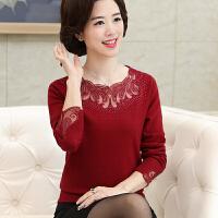 中老年女装宽松长袖打底衫上衣新款妈妈装秋装时尚针织衫40-50岁