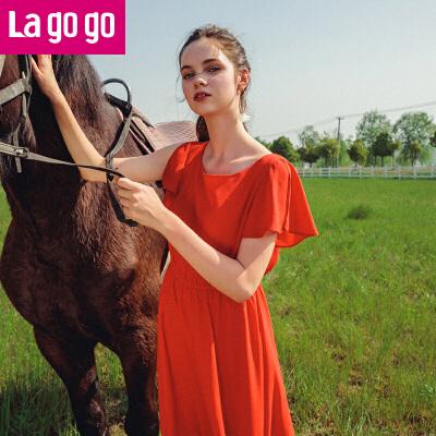 Lagogo/拉谷谷2018夏季新款时尚圆领收腰荷叶边连衣裙HALL334A23