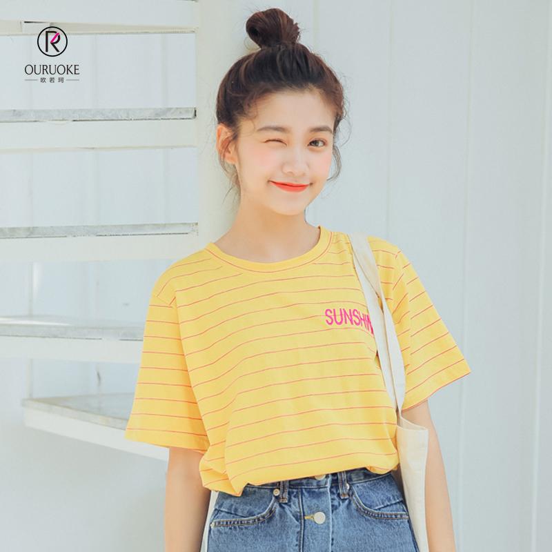 欧若珂  2018夏季新款韩版条纹短袖t恤女