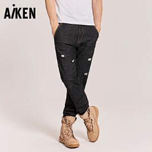 森马旗下Aiken个性牛仔裤男士2017秋季新款修身破洞潮流时尚长裤青年裤子