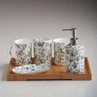 创意陶瓷卫浴五件套装 浴室洗漱洁具用品简约结婚礼品