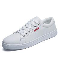 冬秋季潮流白色帆布鞋男韩版小白鞋潮鞋青少年男鞋子运动休闲板鞋