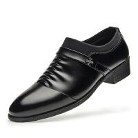 男鞋冬季韩版英伦尖头加绒黑色商务正装内增高休闲皮鞋男真皮真皮 黑色 支持验货