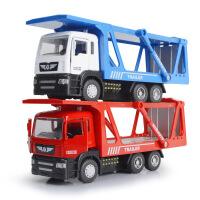 1:50建元合金平板拖车货柜车汽车模型 儿童回力声光玩具车模