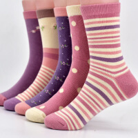 童袜纯棉3-5-7-9-12岁中大童女童袜子秋冬款儿童袜子棉袜女袜全棉 女童五双装