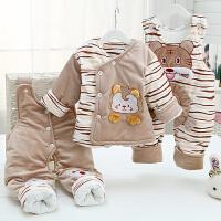 20180515131652476婴儿冬季棉衣套装 加厚0-1-2岁男女宝宝幼儿童棉衣服背带裤三件套