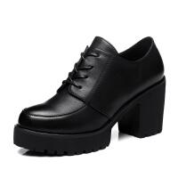 古奇天伦 2017新款厚底防水台粗跟高跟鞋 休闲女单鞋GQTL8140