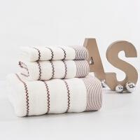 纯棉毛巾浴巾方巾三件套装婚庆员工福利礼品盒绣字印logo 波浪纹 米白