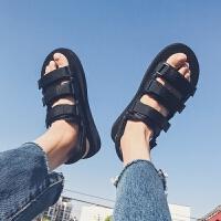 夏季男士潮流休闲凉鞋学生户外沙滩鞋魔术贴鞋子