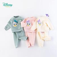迪士尼Disney童装男女宝宝三层暖棉套装唐老鸭卡通贴布绣卫衣保暖透气193T915