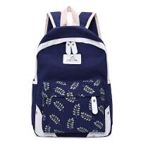 帆布双肩包女日韩版学院风高中生旅行双肩背包初中学生书包