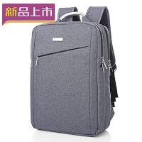 2018商务背包双肩包男士旅行电脑双肩包15.6寸14寸韩版书包潮 灰色 斜款