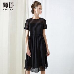 颜域修身显瘦雪纺连衣裙通勤OL中长款拼接短袖2018夏装新款裙子
