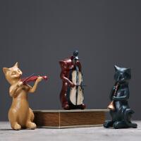 美式乡村复古套三音乐猫摆件创意书房办公室装饰品摆设结婚礼物 套三音乐猫