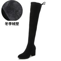 秋冬新款马丁靴女粗跟高跟过膝靴弹力靴长筒靴高筒保暖女长靴