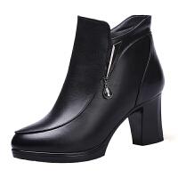 冬季新款真皮女靴加�q加厚保暖羊毛靴高跟短靴粗跟棉鞋����鞋真皮 黑色5263