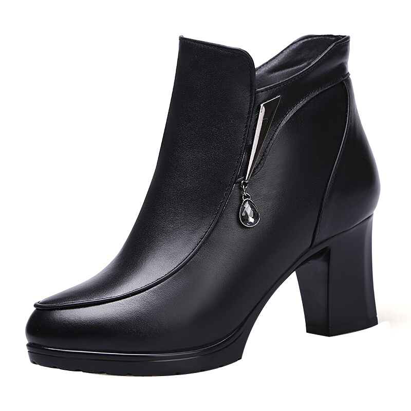 冬季新款真皮女靴加绒加厚保暖羊毛靴高跟短靴粗跟棉鞋妈妈鞋真皮 黑色5263