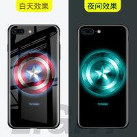 20190531022038082苹果X钢铁侠手机壳iPhone8plus夜光玻璃壳6S美国队长保护套7P漫威动漫卡通