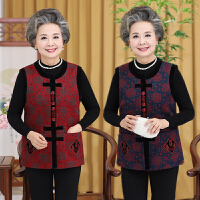 老年人秋装女装唐装马甲 奶奶装背心老人衣服春秋装60-70岁穿上衣