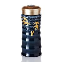 乾唐轩活瓷杯鎏金大竹节随身杯双层350ml创意陶瓷水杯子带盖男女