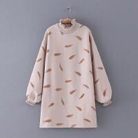 720 女装 冬季新款刺绣图案灯笼袖长袖毛呢女式时尚连衣裙子