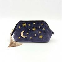 新款化妆包丝绒镶嵌星星月亮拉链化妆包 深蓝色