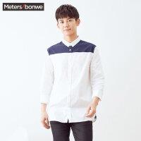 【1件3折到手价:59.97】美特斯邦威衬衫男士冬装新款撞色拼接长袖衬衣