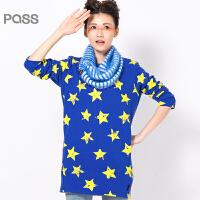PASS原创潮牌冬装 无帽中长款可拆卸领子套头星星加绒加厚卫衣女6540521058