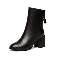 2018新款真皮高跟马丁靴女欧美时尚中筒粗跟短靴冬秋单靴加绒靴子