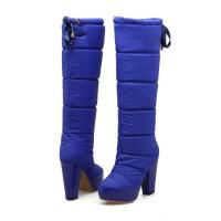 WARORWAR法国新品YG43-712-5冬季欧美粗跟高跟女鞋潮流时尚潮鞋百搭潮牌羽绒靴长靴女