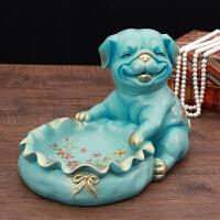 欧式家居酒柜鞋柜装饰摆件钥匙收纳家庭创意狗动物摆设工艺品