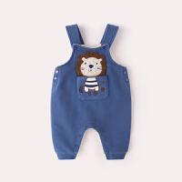 宝宝背带裤加绒女冬季儿童高腰加厚男1岁婴儿裤子保暖婴幼儿冬装 蓝色 预售15天发货