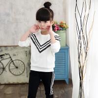童装女童秋装套装2018新韩版儿童两件套中大童秋季 白色 白上衣+黑裤子 110cm(110身高105cm可穿)